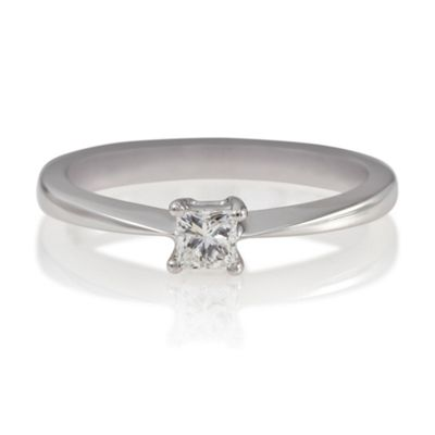 18ct White Gold 1/4ct Diamond Princess Cut Ring, N