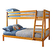 Comfy Living 3ft Single & 4ft Small Double Children's Eco Triple Bunk Bed in Caramel with Sprung Mattress