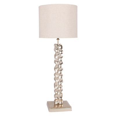 Aluminium Textured Stem Lamp with Beige Shade