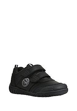 F&F Light-Up Dinosaur Riptape School Shoes - Black