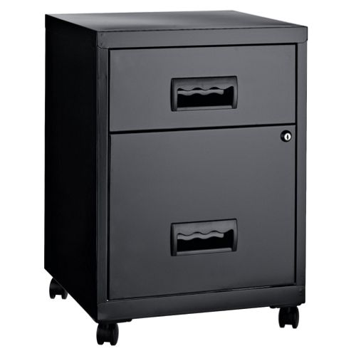 Pierre Henry A4 2 Drawer Combi Filing Cabinet With Castors, Black