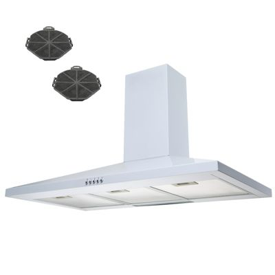 SIA CH101WH 100cm Chimney Cooker Hood Kitchen Extractor Fan In White + Filters