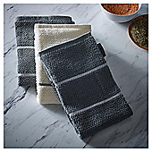 Go Cook Grey Stripe Kitchen Towel 3pk