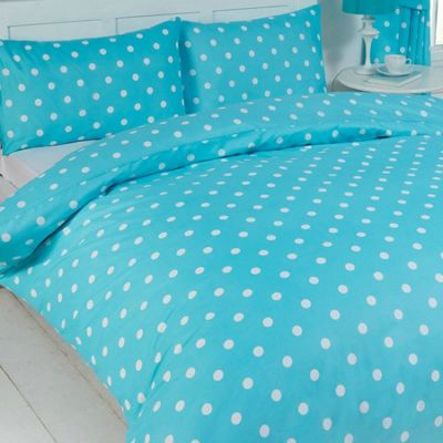Polka Dot King Size Bedding - Turquoise
