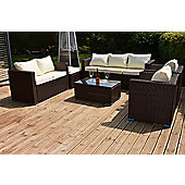 Torino Garden Rattan Sofa Set with Table Black