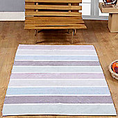 Homescapes Cotton Chenille Striped Rug Blue Beige Purple Grey Natural, 60 x 100 cm