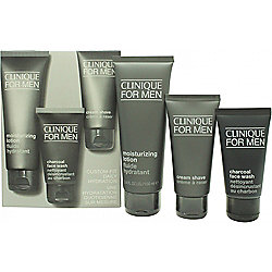 Clinique For Men Gift Set 100ml Moisturizing Lotion + 60ml Cream Shave + 50ml Charcoal Face Wash