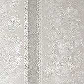 Superfresco Traditional Floral Stripe Silver Mist Shimmer Wallpaper