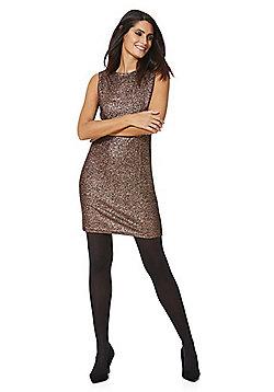 Mela London Metallic Shift Dress - Bronze