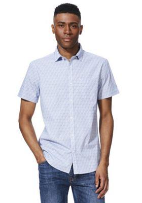 F&F Diamond Print Button-Down Collar Short Sleeve Shirt Blue 4XL
