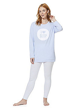 F&F I Love Sleep Slogan Pyjamas - Blue