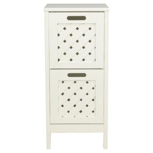 Sheringham Bathroom Tower Cabinet - 2 Drawer , White Wood