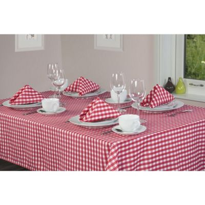 Hamilton McBride Gingham Check Round Tablecloth 175x175cm - Cherry