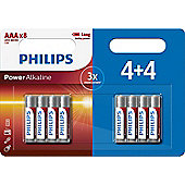 8 x Philips AAA Power Alkaline LR03 Long Lasting Batteries