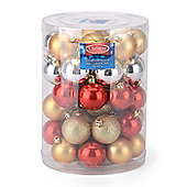 Christow 50 Assorted Christmas Baubles - Gold, Silver & Red