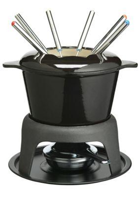 KitchenCraft Master Class Cast Iron Enameled Fondue Gift Set in Black