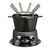 KitchenCraft Master Class Cast Iron Enameled Fondue Gift Set in Black