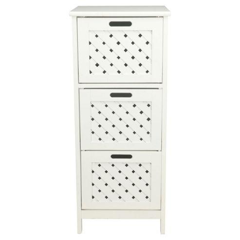 Sheringham White Wood 3 Drawer Tower Cabinet