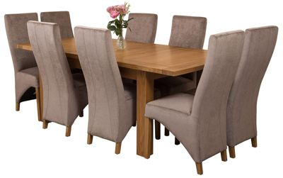 Seattle Extending Kitchen Solid Oak Dining Set Table and 8 Grey Fabric Chairs