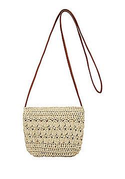 F&F Glitter Straw Cross-Body Bag