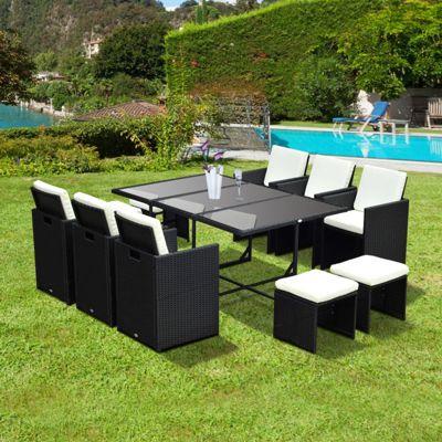outsunny 11pc rattan garden furniture outdoor patio dining