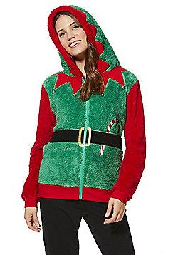F&F Elf Fleece Christmas Hoodie - Green & Red