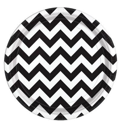 Black Chevron Plates - 23cm Paper Party Plates