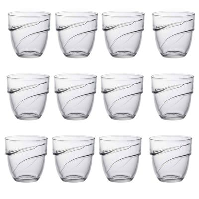 Duralex Wave Stacking Water / Juice Traditional Tumbler Glasses - 270ml - x12