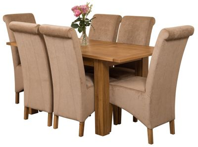 Hampton Extending Kitchen Solid Oak Dining Set Table + 6 Beige Fabric Chairs