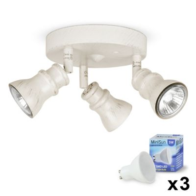 Round Three Way LED Ceiling Spotlight, Distressed White & Daylight GU10 Bulbs