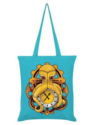 Steampunk Octopus Azure Blue Tote Bag