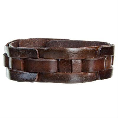 Urban Male Men's Brown Leather Slim Cuff Style Bracelet