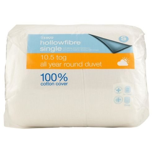Tesco Standard Cotton Cover Single Duvet, 10.5 Tog