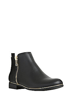 F&F Metallic Trim Mixed Texture Ankle Boots - Black