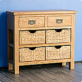 Surrey Oak Console Table with Baskets - Waxed Finish