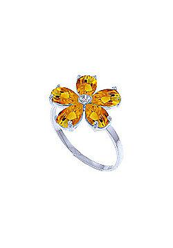 QP Jewellers Diamond & Citrine Foliole Ring in 14K White Gold