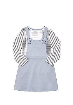 F&F Striped Long Sleeve T-Shirt and Pinafore Dress Set - Blue