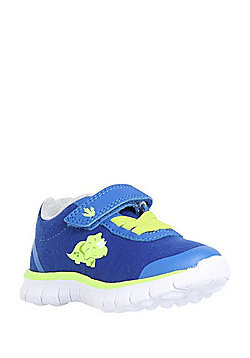 F&F My First Shoes Dinosaur Print Riptape Trainers - Cobalt/Lime