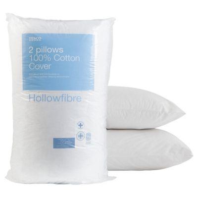 Tesco Cotton Cover Pillow, Twinpack