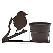 Plant Pot and Stand with Beautiful Robin Silhouette