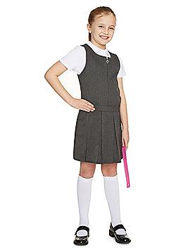 F&F School Girls Permanent Pleat Plus Fit Pinafore - Grey