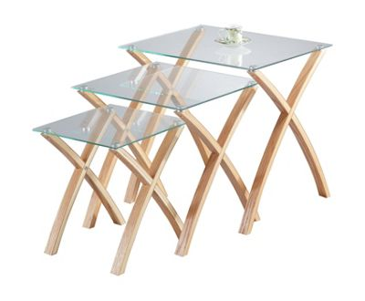 Miami Set of 3 Nesting Tables - Clear Glass