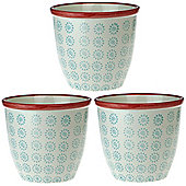 Patterned Plant Pot. Porcelain Indoor / Outdoor Flower Pot - Turquoise / Red Swirl Design - Box of 3