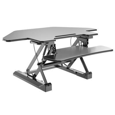Duronic DM05D5 Sit Stand Corner Desk PC Workstation Height Adjustable Table - Monitor and Keyboard Riser – Compatible with Duronic Monitor Arm