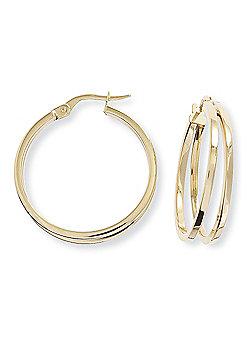 Ladies 9ct Gold Square Tube Split Round Hoop Earrings - 22mm 22mm x 26mm