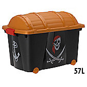 Childrens Pirate Treasure Chest Storage Box on Wheels