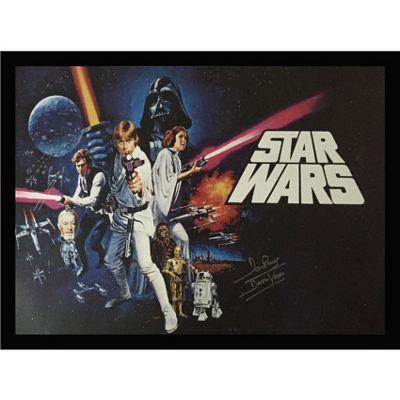 Framed Darth Vader Star Wars poster signed by Dave Prowse