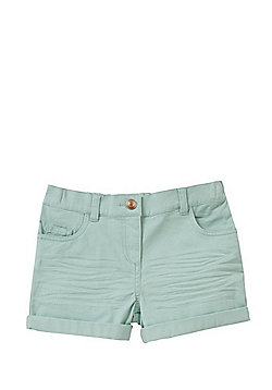 F&F Twill Turn-Up Shorts - Sage Green