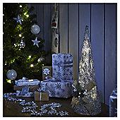 Medium Pre Lit Silver Rattan Cone Christmas Tree Room Decoration