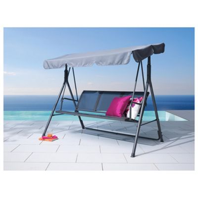 Seville Metal/Waterproof Woven Textile Swing Bench - Charcoal